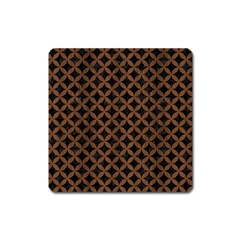 Circles3 Black Marble & Brown Wood Magnet (square) by trendistuff