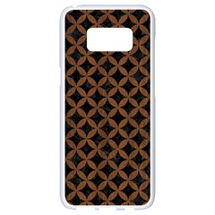 Circles3 Black Marble & Brown Wood Samsung Galaxy S8 White Seamless Case by trendistuff