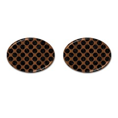 Circles2 Black Marble & Brown Wood (r) Cufflinks (oval) by trendistuff