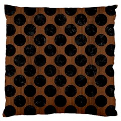 Circles2 Black Marble & Brown Wood (r) Large Cushion Case (two Sides) by trendistuff