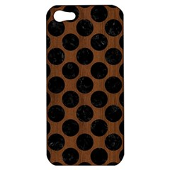Circles2 Black Marble & Brown Wood (r) Apple Iphone 5 Hardshell Case by trendistuff