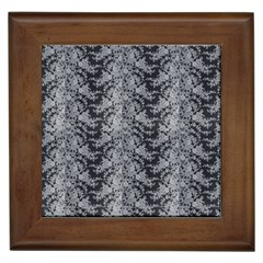 Black Floral Lace Pattern Framed Tiles by paulaoliveiradesign