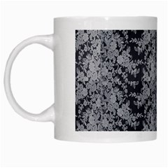 Black Floral Lace Pattern White Mugs by paulaoliveiradesign
