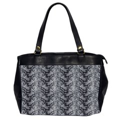 Black Floral Lace Pattern Office Handbags (2 Sides)  by paulaoliveiradesign