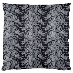 Black Floral Lace Pattern Large Flano Cushion Case (one Side) by paulaoliveiradesign