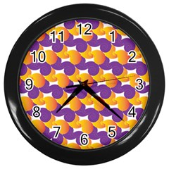 Purple And Yellow Abstract Pattern Wall Clocks (black) by paulaoliveiradesign
