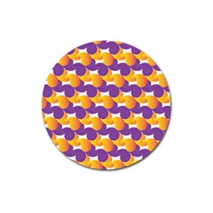 Purple And Yellow Abstract Pattern Magnet 3  (round) by paulaoliveiradesign