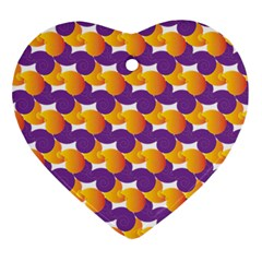 Purple And Yellow Abstract Pattern Heart Ornament (two Sides) by paulaoliveiradesign