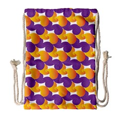 Purple And Yellow Abstract Pattern Drawstring Bag (large) by paulaoliveiradesign
