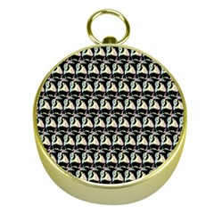Colorful Pop Art Monkey Pattern Gold Compasses by paulaoliveiradesign