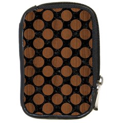 Circles2 Black Marble & Brown Wood Compact Camera Leather Case by trendistuff