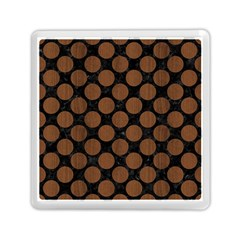 Circles2 Black Marble & Brown Wood Memory Card Reader (square) by trendistuff