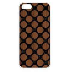 Circles2 Black Marble & Brown Wood Apple Iphone 5 Seamless Case (white) by trendistuff