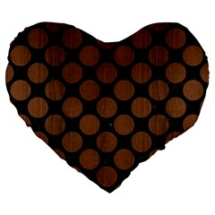 Circles2 Black Marble & Brown Wood Large 19  Premium Flano Heart Shape Cushion by trendistuff