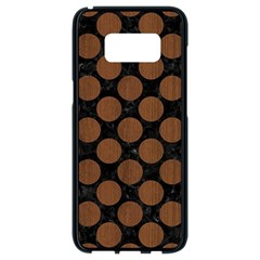 Circles2 Black Marble & Brown Wood Samsung Galaxy S8 Black Seamless Case