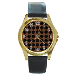 Circles1 Black Marble & Brown Wood (r) Round Gold Metal Watch by trendistuff