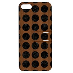 Circles1 Black Marble & Brown Wood (r) Apple Iphone 5 Hardshell Case With Stand by trendistuff