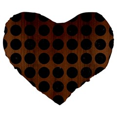 Circles1 Black Marble & Brown Wood (r) Large 19  Premium Flano Heart Shape Cushion by trendistuff