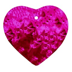 Hot Pink Floral Pattern Heart Ornament (two Sides) by paulaoliveiradesign