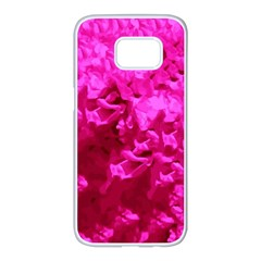 Hot Pink Floral Pattern Samsung Galaxy S7 Edge White Seamless Case