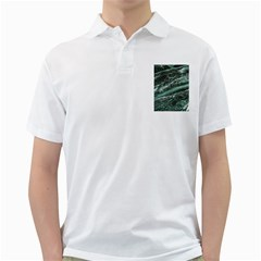 Green Marble Stone Texture Emerald  Golf Shirts by paulaoliveiradesign