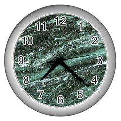 Green Marble Stone Texture Emerald  Wall Clocks (silver)  by paulaoliveiradesign