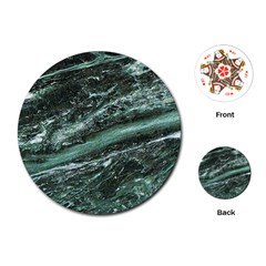 Green Marble Stone Texture Emerald  Playing Cards (round)  by paulaoliveiradesign