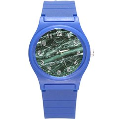 Green Marble Stone Texture Emerald  Round Plastic Sport Watch (s) by paulaoliveiradesign