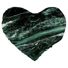 Green Marble Stone Texture Emerald  Large 19  Premium Heart Shape Cushions by paulaoliveiradesign
