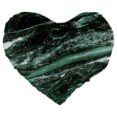 Green Marble Stone Texture Emerald  Large 19  Premium Flano Heart Shape Cushions by paulaoliveiradesign