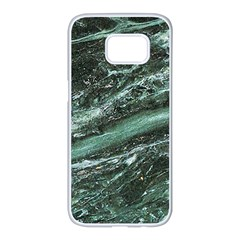 Green Marble Stone Texture Emerald  Samsung Galaxy S7 Edge White Seamless Case