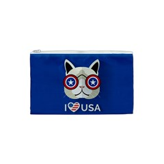 Cat I Love Usa Cosmetic Bag (small)