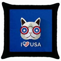 Cat I Love Usa Black Throw Pillow Case