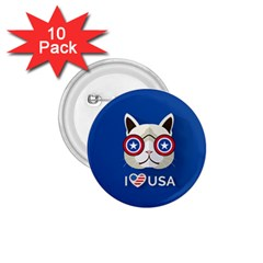 Cat I Love Usa 1 75  Button (10 Pack)