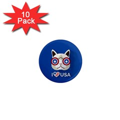 Cat I Love Usa 1  Mini Button Magnet (10 Pack)