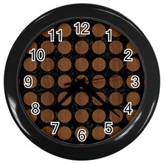 Circles1 Black Marble & Brown Wood Wall Clock (black) by trendistuff