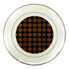 Circles1 Black Marble & Brown Wood Porcelain Plate by trendistuff