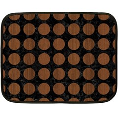 Circles1 Black Marble & Brown Wood Fleece Blanket (mini) by trendistuff