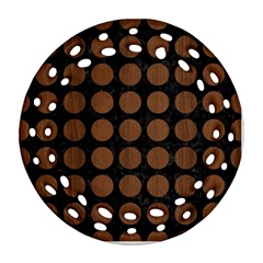 Circles1 Black Marble & Brown Wood Ornament (round Filigree) by trendistuff