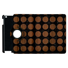 Circles1 Black Marble & Brown Wood Apple Ipad 3/4 Flip 360 Case by trendistuff