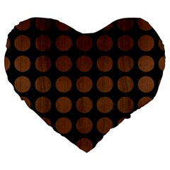 Circles1 Black Marble & Brown Wood Large 19  Premium Heart Shape Cushion by trendistuff