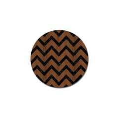 Chevron9 Black Marble & Brown Wood (r) Golf Ball Marker by trendistuff