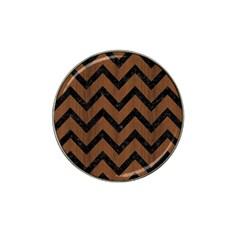 Chevron9 Black Marble & Brown Wood (r) Hat Clip Ball Marker (10 Pack) by trendistuff