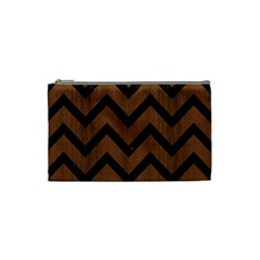 Chevron9 Black Marble & Brown Wood (r) Cosmetic Bag (small) by trendistuff
