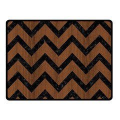 Chevron9 Black Marble & Brown Wood (r) Double Sided Fleece Blanket (small) by trendistuff