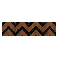 Chevron9 Black Marble & Brown Wood (r) Satin Scarf (oblong) by trendistuff