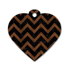 Chevron9 Black Marble & Brown Wood Dog Tag Heart (two Sides) by trendistuff