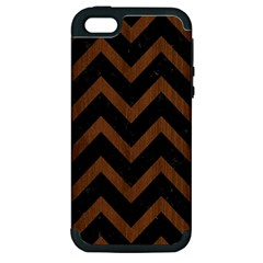 Chevron9 Black Marble & Brown Wood Apple Iphone 5 Hardshell Case (pc+silicone) by trendistuff