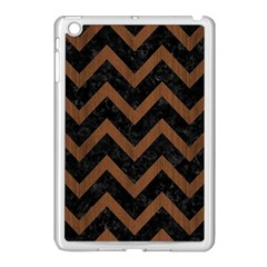 Chevron9 Black Marble & Brown Wood Apple Ipad Mini Case (white) by trendistuff