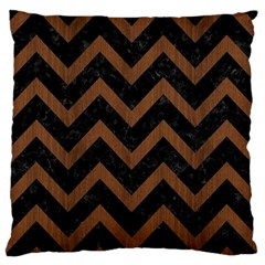 Chevron9 Black Marble & Brown Wood Large Flano Cushion Case (one Side) by trendistuff